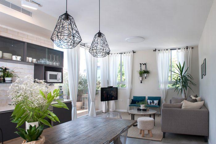 הרחבת דירה בתל אביב - מטבח וסלון
